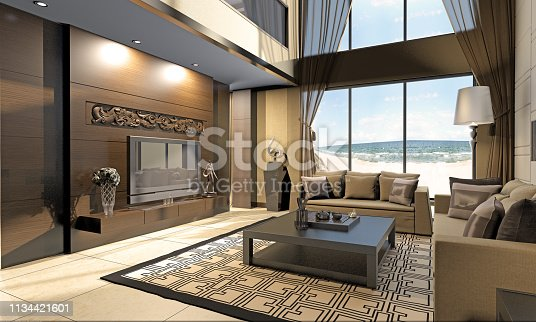 Modern chinese style living room at seashore. ( 3d render )