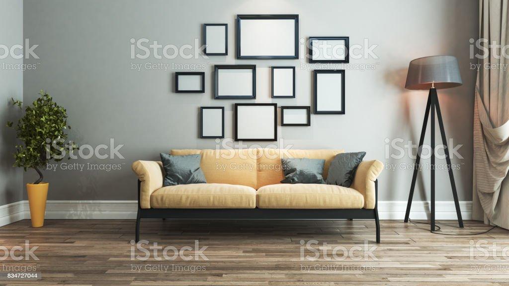 Idea De Diseño De Interiores Living Comedor Foto de stock y más banco de  imágenes de A la moda