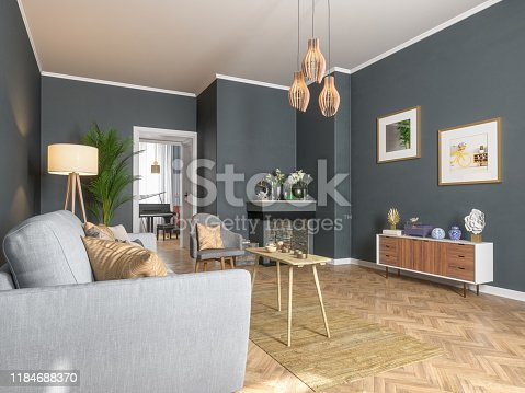 istock Living room interior design 1184688370