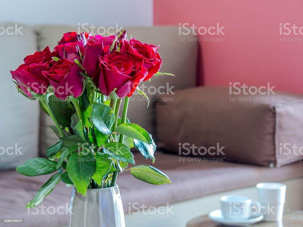 Wohnzimmer Innenraum Gestaltung Mit Blumenvase/home Dekoration Konzept  Lizenzfreies Stock Foto