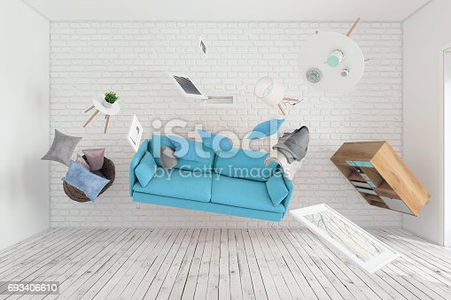 istock Living room interior furniture flying around 693406610