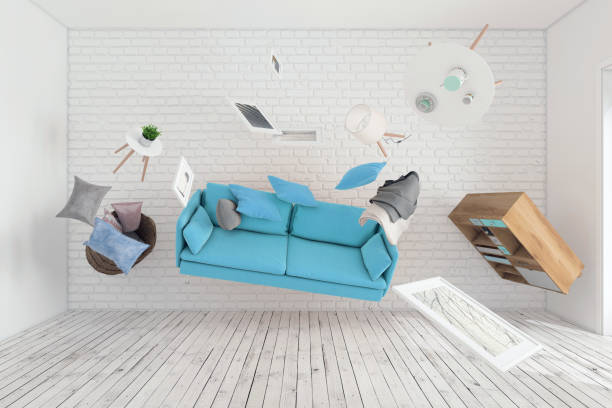 Living room interior furniture flying around stock photo