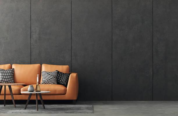 интерьер гостиной на чердаке, промышленный стиль - modern office стоковые фото и изображения