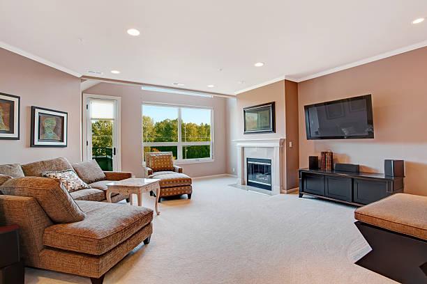 living room interior in modern apartment - tapijt stockfoto's en -beelden