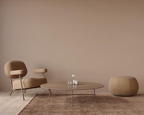 Living room interior in monochrome terracotta color