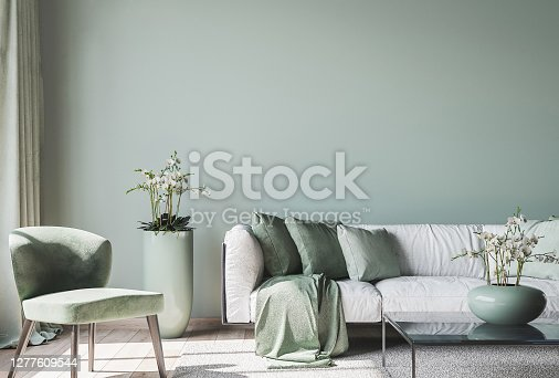 living room interior mock up, modern furniture and trendy home accessories, on colored background