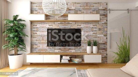 Modern living room interior design 3D render