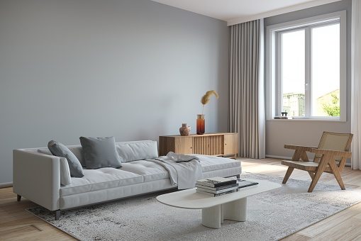 Living room interior with gray sofa and wooden armchair, carpet on the floor and white coffee table. Render image.