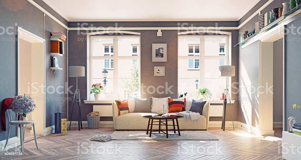Awesome Living Room Interior Stock Photo
