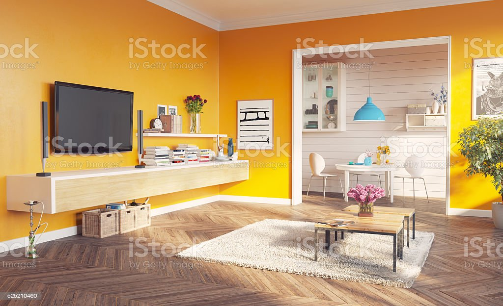 living room interior modern living room interior. 3d rendering design concept Apartment Stock Photo