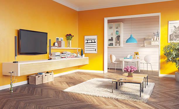 wohnzimmer interior - zimmer bildschirm stock-fotos und bilder