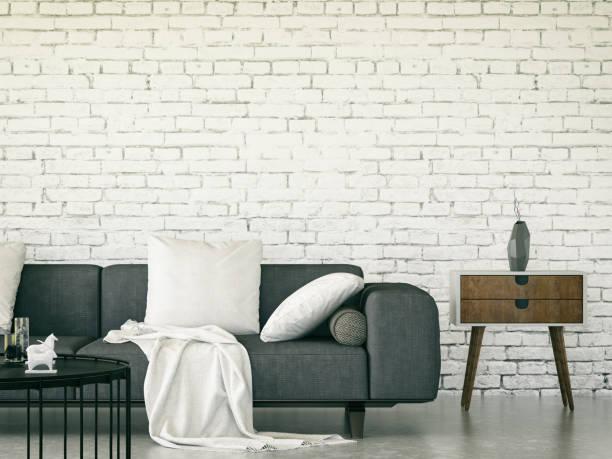 wohnzimmer interior - stuhlpolster stock-fotos und bilder