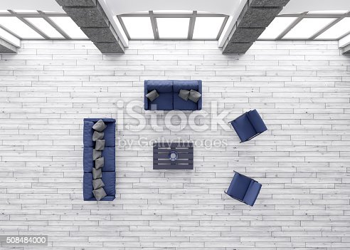 istock Living room interior top view 3d render 508484000