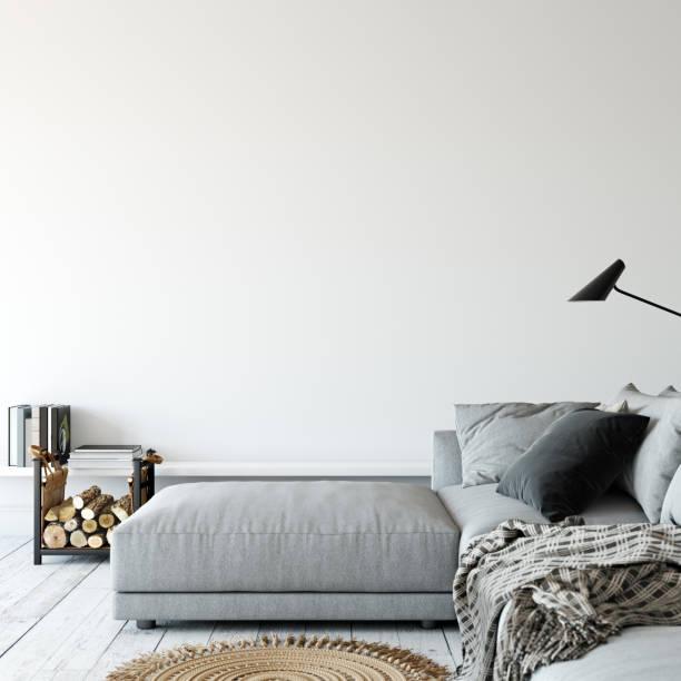 Wohnzimmer Innenraum. Wand-Mock-up. Wandkunst. 3D Rendering, 3d Illustration. – Foto