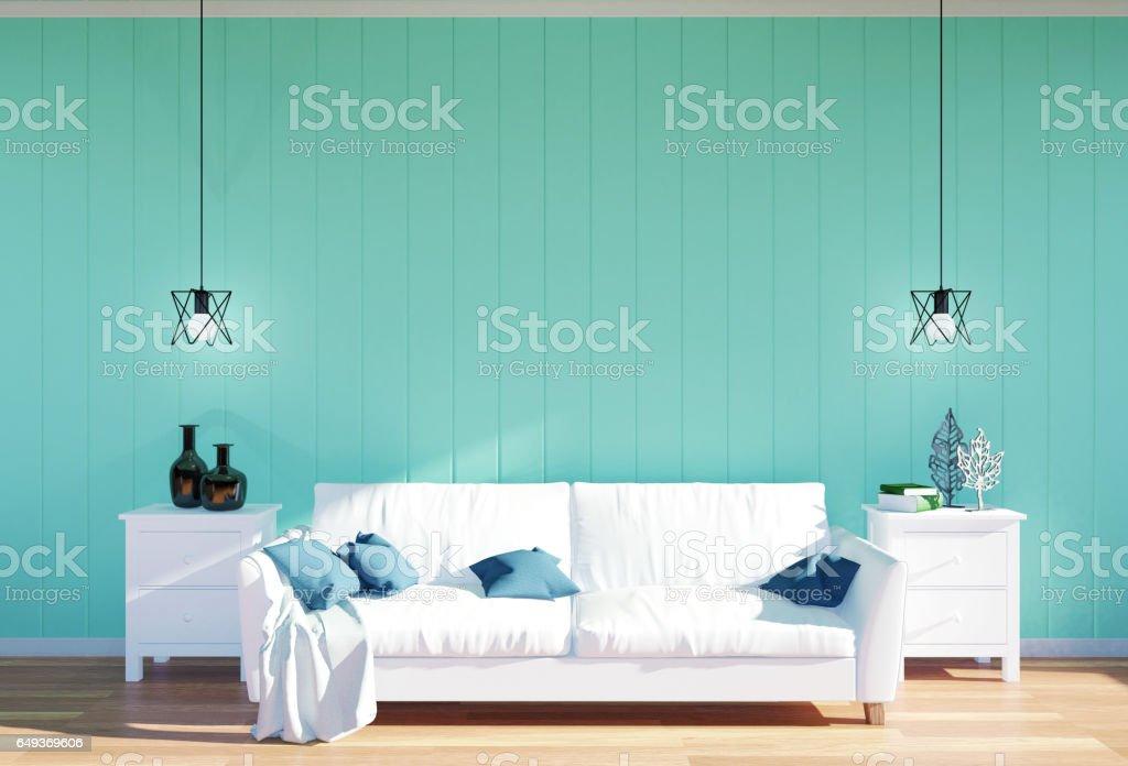 Wohnzimmer Innenraum Weissen Sofa Und Grune Wand Stock Fotografie Und