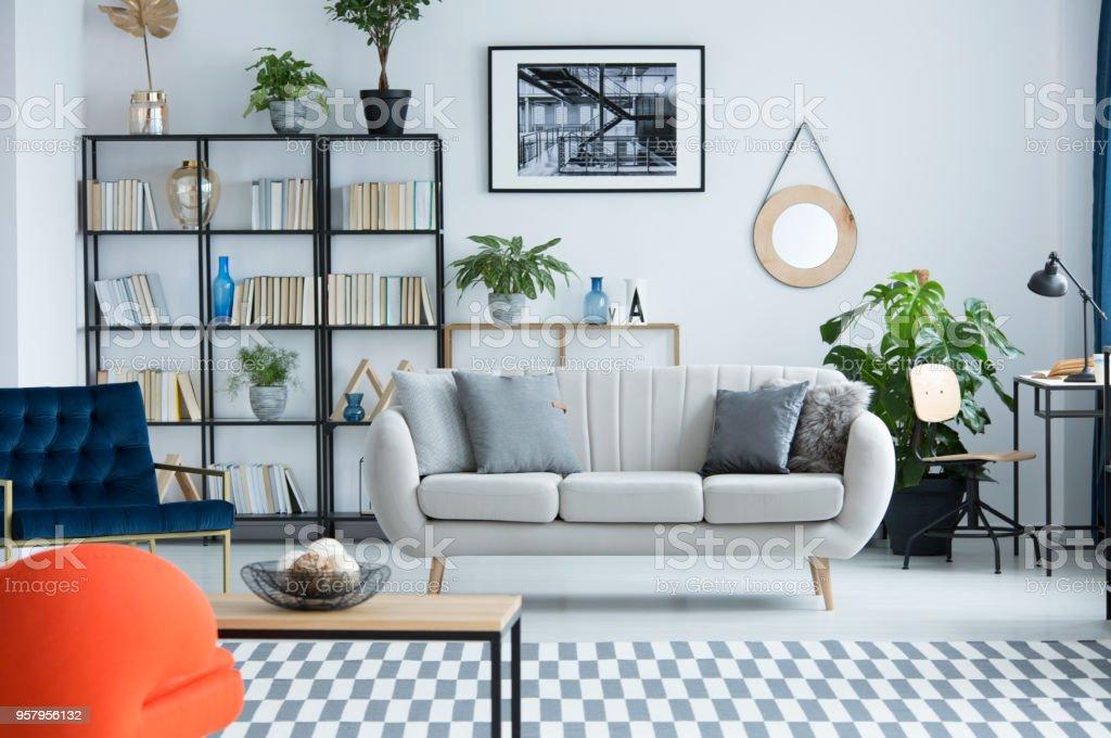 Living Room Interior With Bookshelf Stock Photo - Download ...