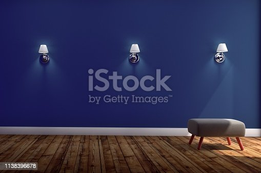 1095381860 istock photo Living Room Interior with chair and Three lamps ,wooden floor on blue wall background. 3D rendering 1138396678