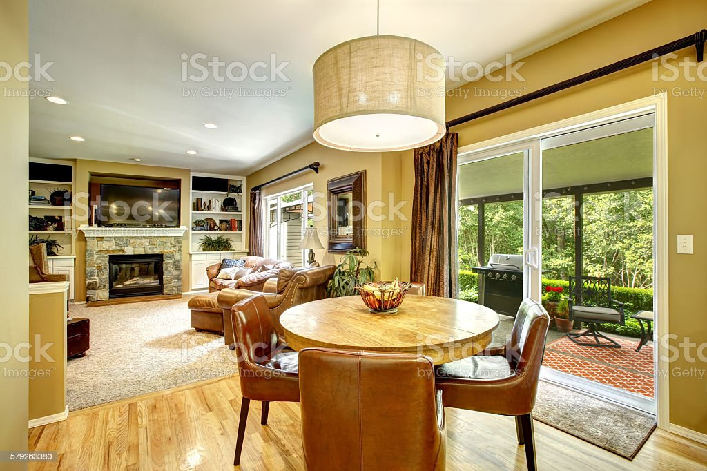 Living room interior with dining table stock photo