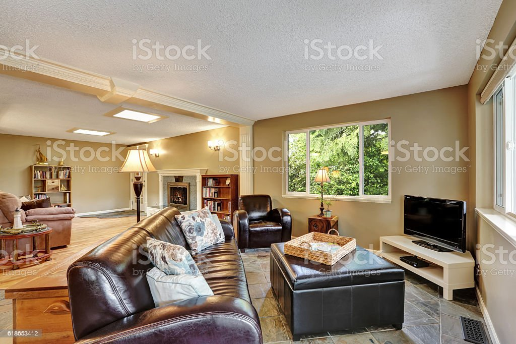 Living Room Interior With Large Leather Ottoman Stock Photo Download Image Now Istock