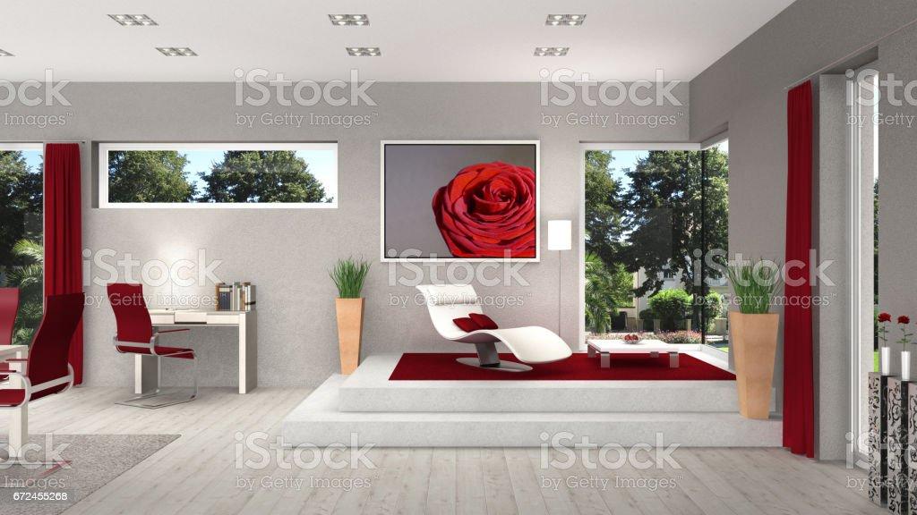 intérieur de la salle de séjour avec fenêtres modernes - Photo