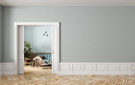 Living room interior with opened doors 3d rendering