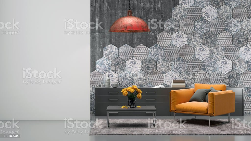 Living room interior with orange armchair stock photo