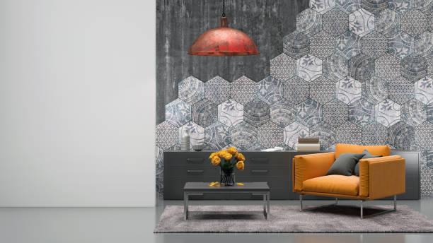 wohnzimmer innenraum mit orange sessel - teppich geometrisch stock-fotos und bilder