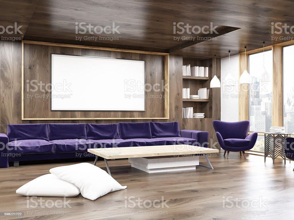 Living room interior with purple sofa stock photo