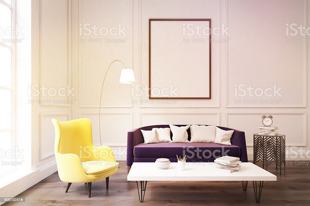 Living room interior with purple sofa, toned royalty-free stock photo