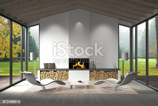 istock living room interior with view to the garden in autumn 672459514