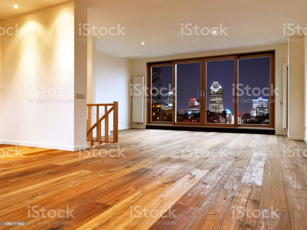 Empty big living room interior with wooden floor and view on night...