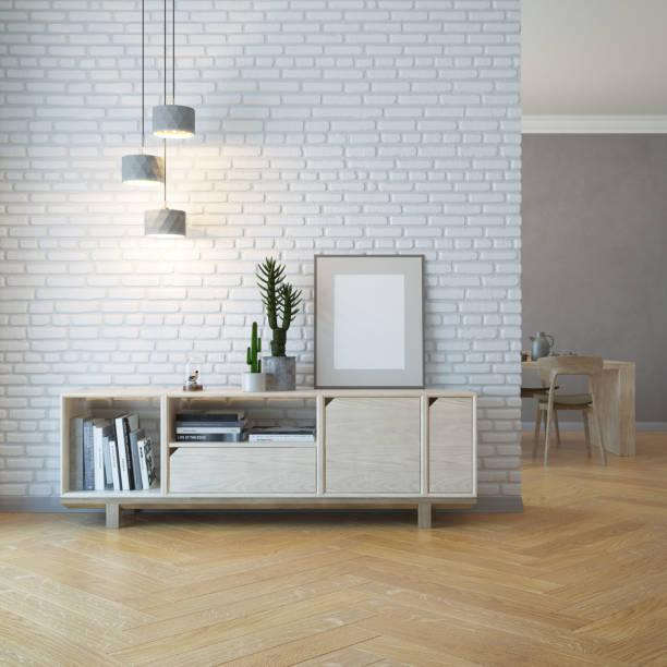 living room interior with wooden sideboard, 3d rendering - sideboard imagens e fotografias de stock