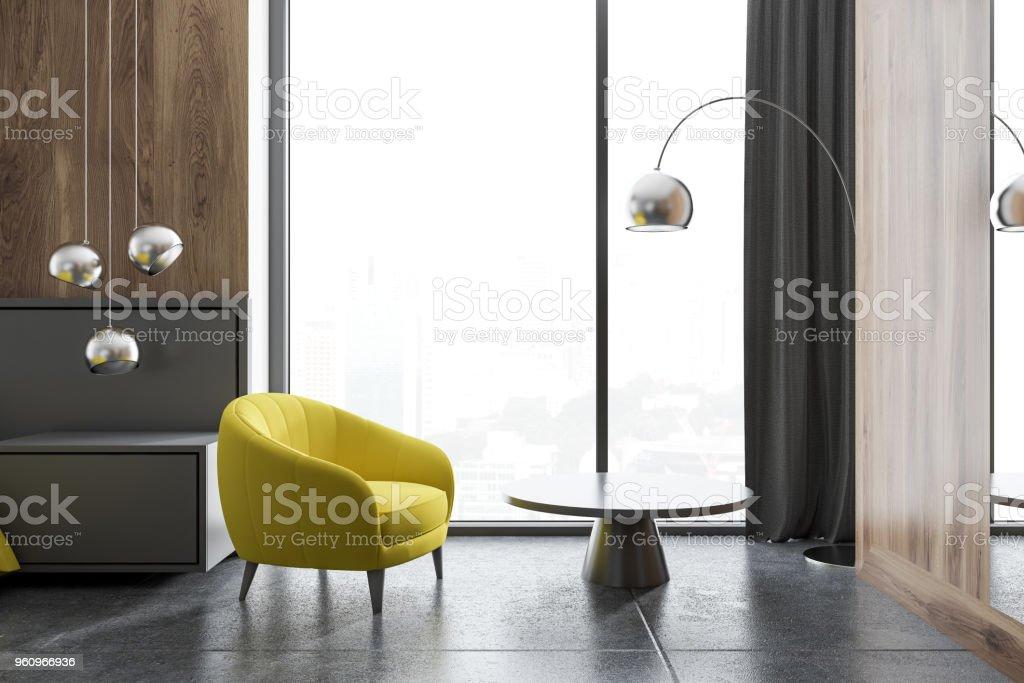 Wohnzimmer Innenraum, gelbe Sessel - Lizenzfrei Behaglich Stock-Foto