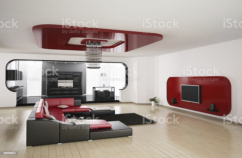 Living room, kitchen 3d render royalty-free stock photo