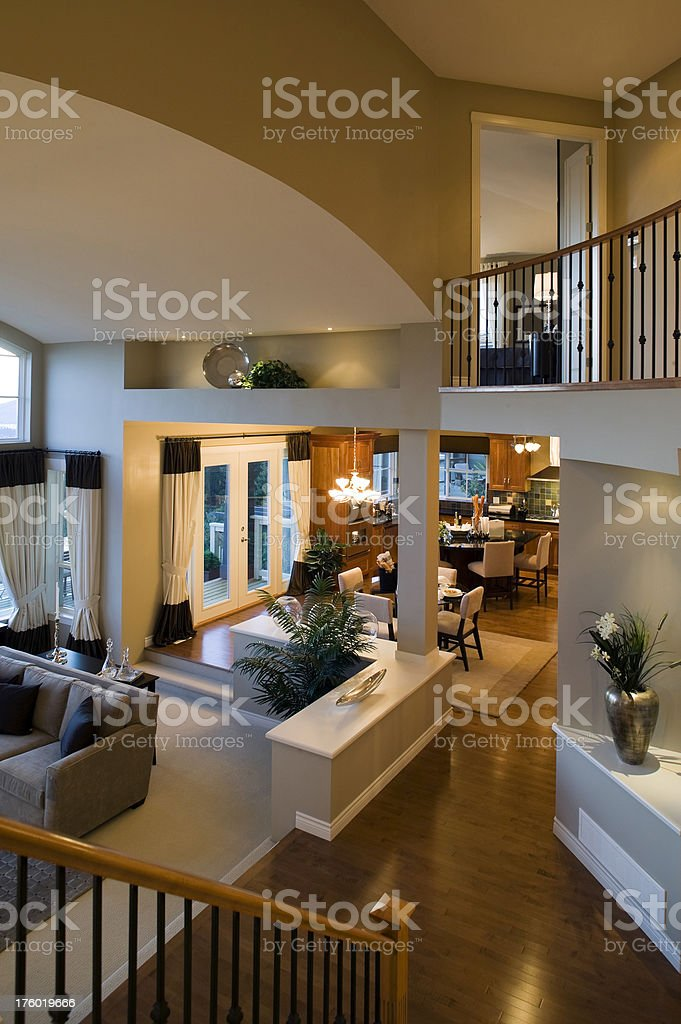 Living Room Kitchen Mansion House Above View Middle Class Royalty Free  Stock Photo