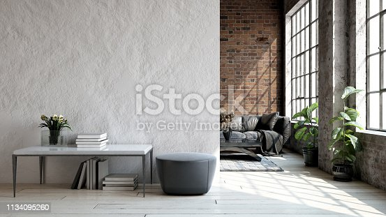Living room loft in industrial style, 3d render