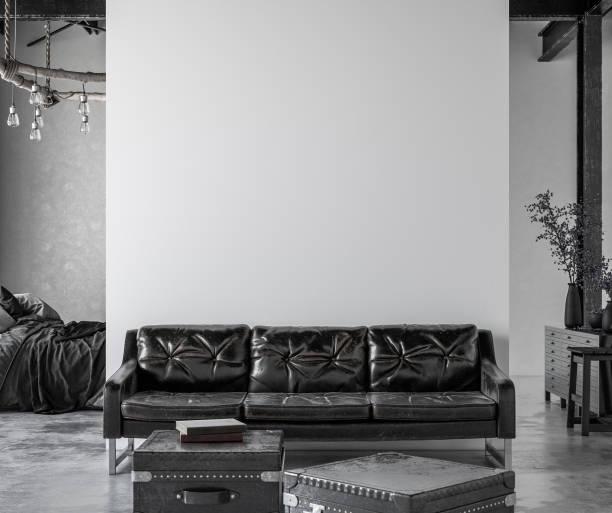 工業スタイルのリビングルームロフト - ソファ 無人 ストックフォトと画像