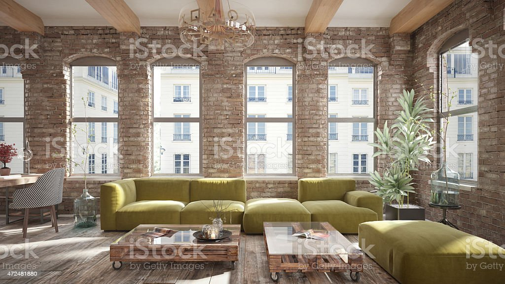 Living room loft in rustic style stock photo