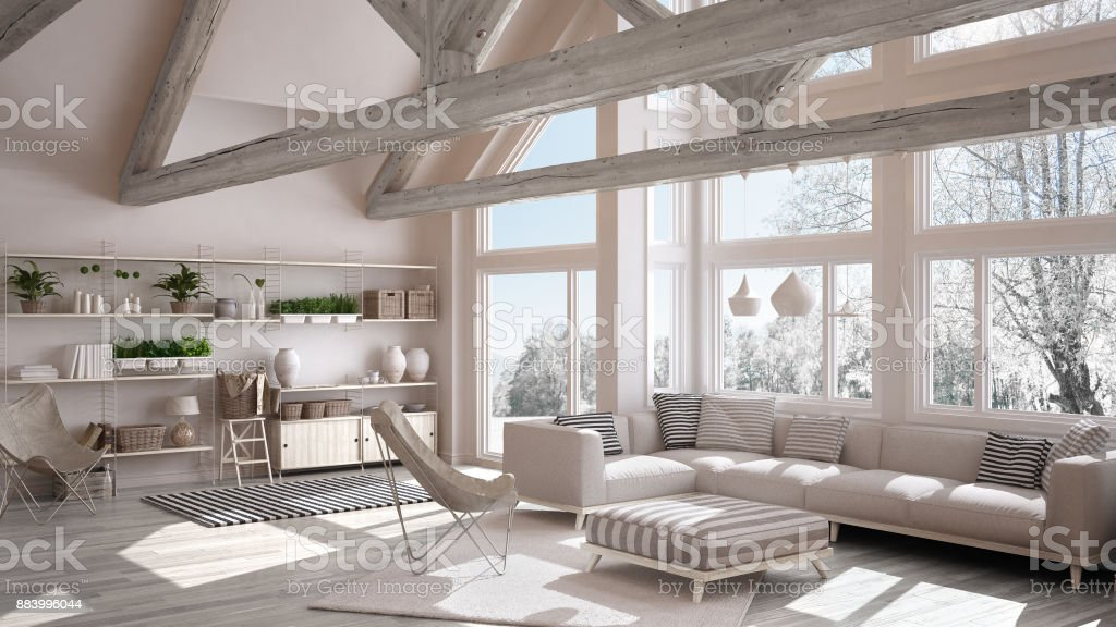 Living Room Of Luxury Eco House Parquet Floor And Wooden Roof ...