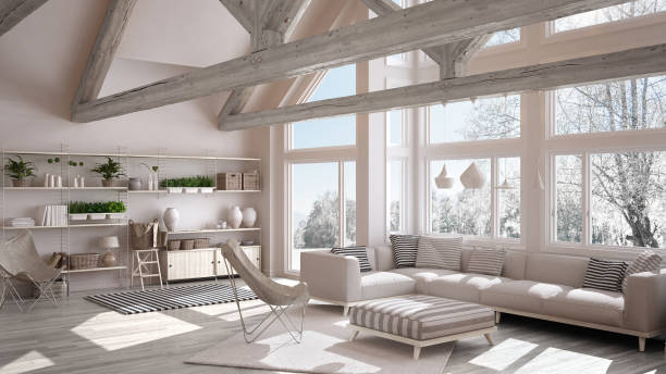 Living room of luxury eco house, parquet floor and wooden roof trusses, panoramic window on winter meadow, modern white interior design stock photo