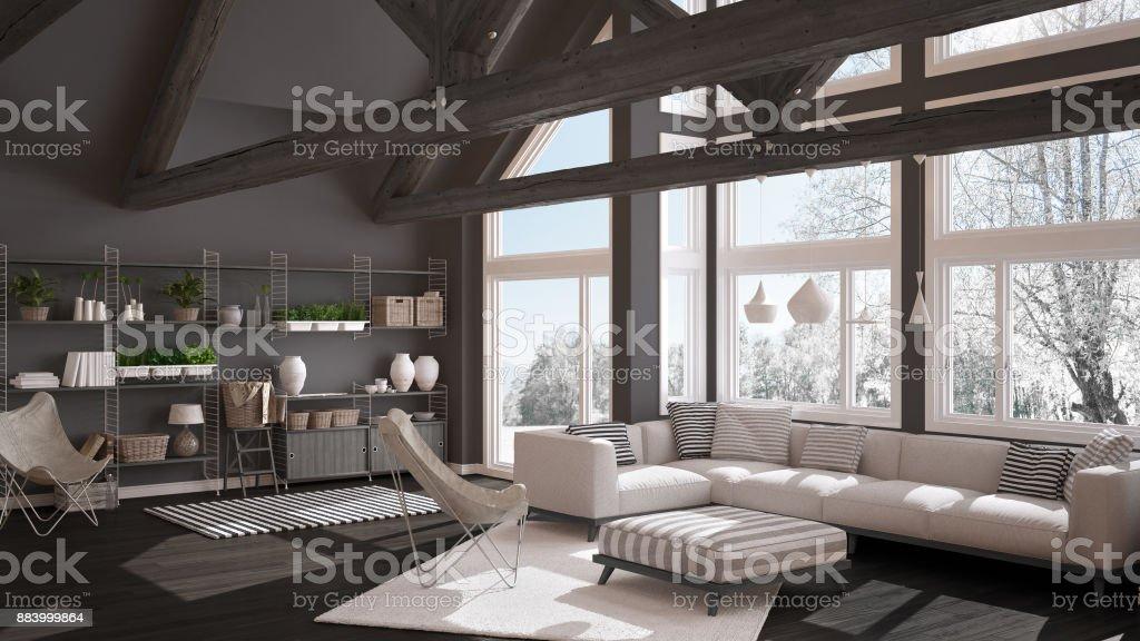Wohnzimmer LuxusÖkohaus Parkettboden Und Hölzernen Dachstühle ...