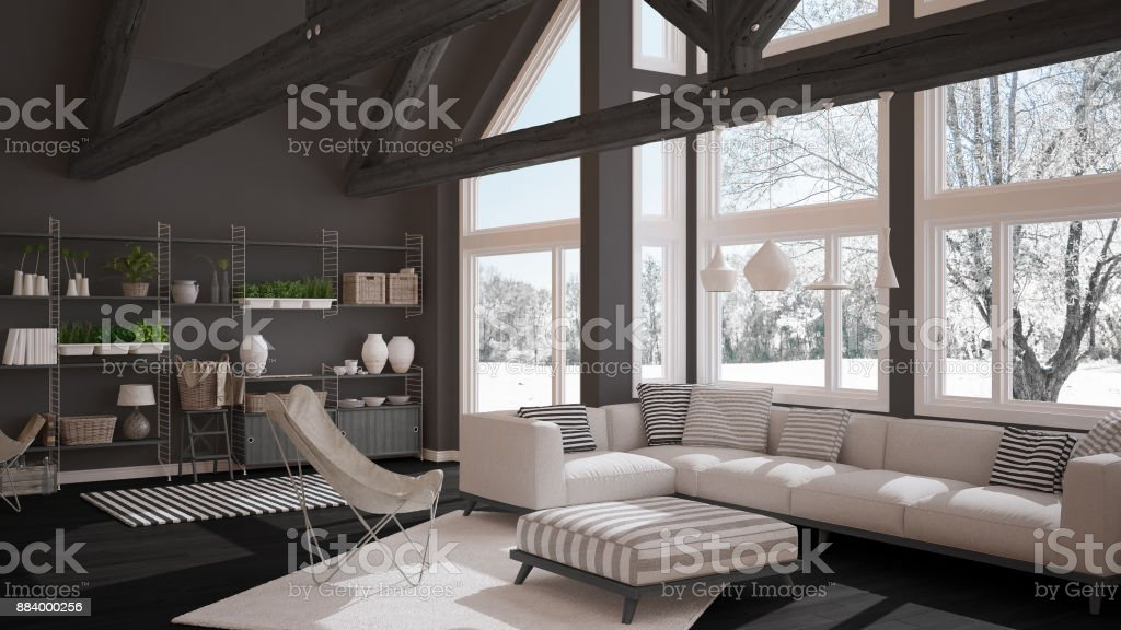 Living Room Of Luxury Eco House Parquet Floor And Wooden Roof Trusses Panoramic Window On Winter Meadow Modern White And Gray Interior Design Stock Photo Download Image Now Istock