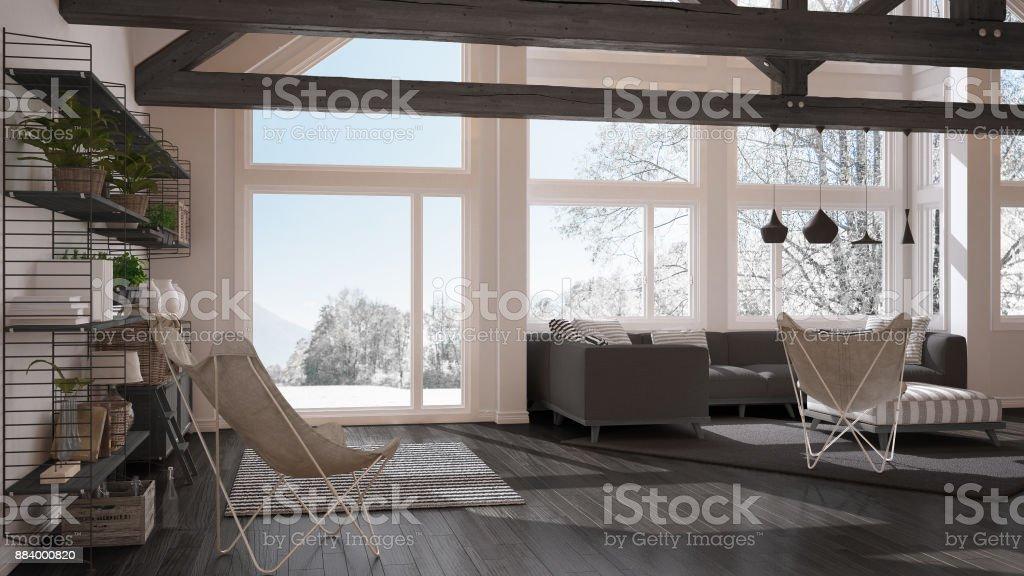 Wohnzimmer Luxus Öko Haus, Parkettboden Und Hölzernen Dachstühle,  Panoramafenster Auf Winter Wiese