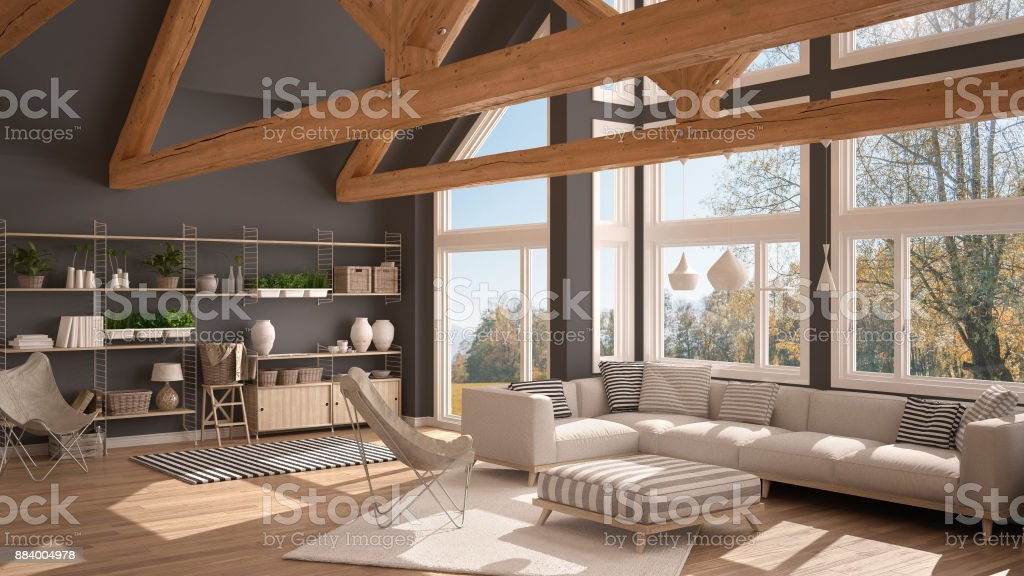 Living Room Of Luxury Eco House Parquet Floor And Wooden Roof Trusses Panoramic Window On Autumn Meadow Modern White And Gray Interior Design Stock Photo Download Image Now Istock