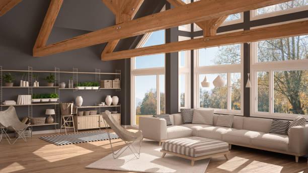 salon de la maison écologique de luxe, sol en parquet et fermes de toit en bois, fenêtre panoramique sur prairie automne, un design intérieur moderne blanc et gris - efficacité énergétique photos et images de collection