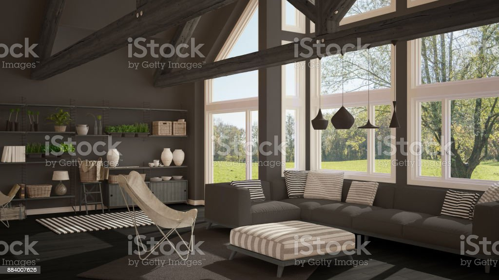 Salon De La Maison Ecologique De Luxe Sol En Parquet Et Fermes De