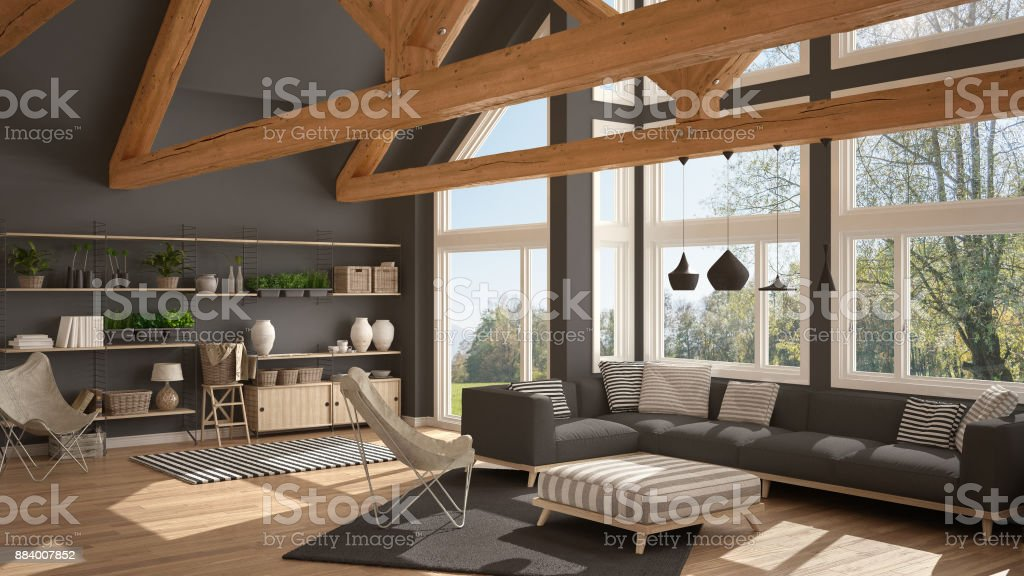 Living Room Of Luxury Eco House Parquet Floor And Wooden Roof Trusses Panoramic Window On Summer Spring Meadow Modern White And Gray Interior Design Stock Photo Download Image Now Istock