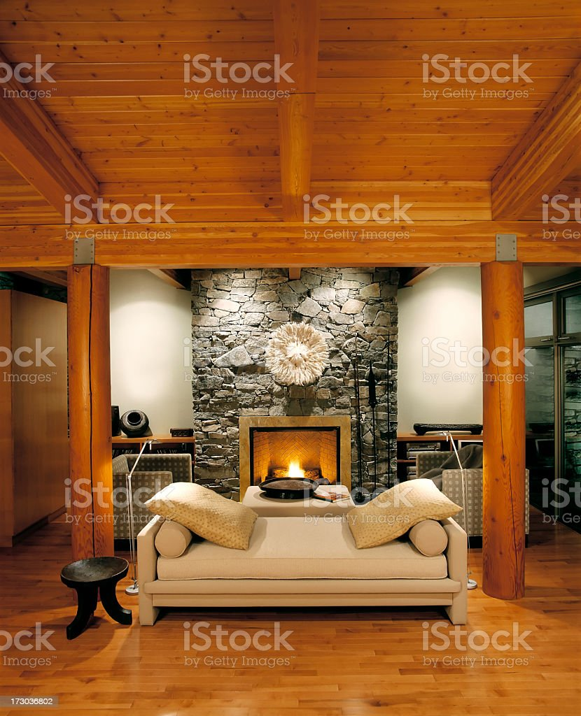 Living room of luxury estate home stock photo