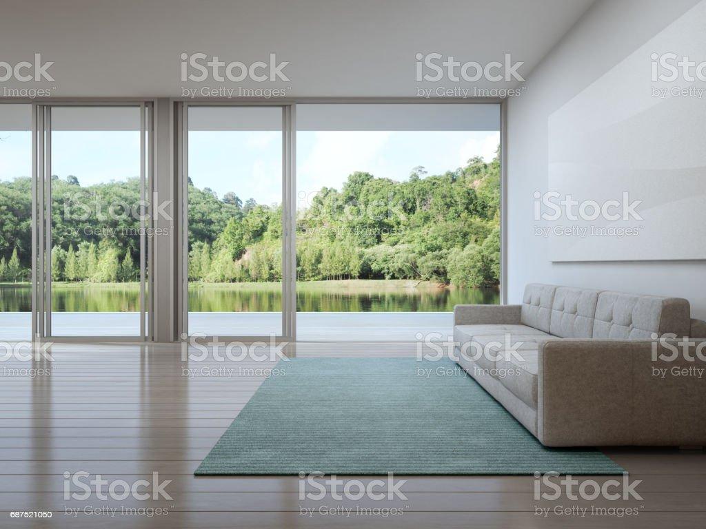 Wohnzimmer Der Luxushaus Mit Blick Auf Den See In Modernem Design ...