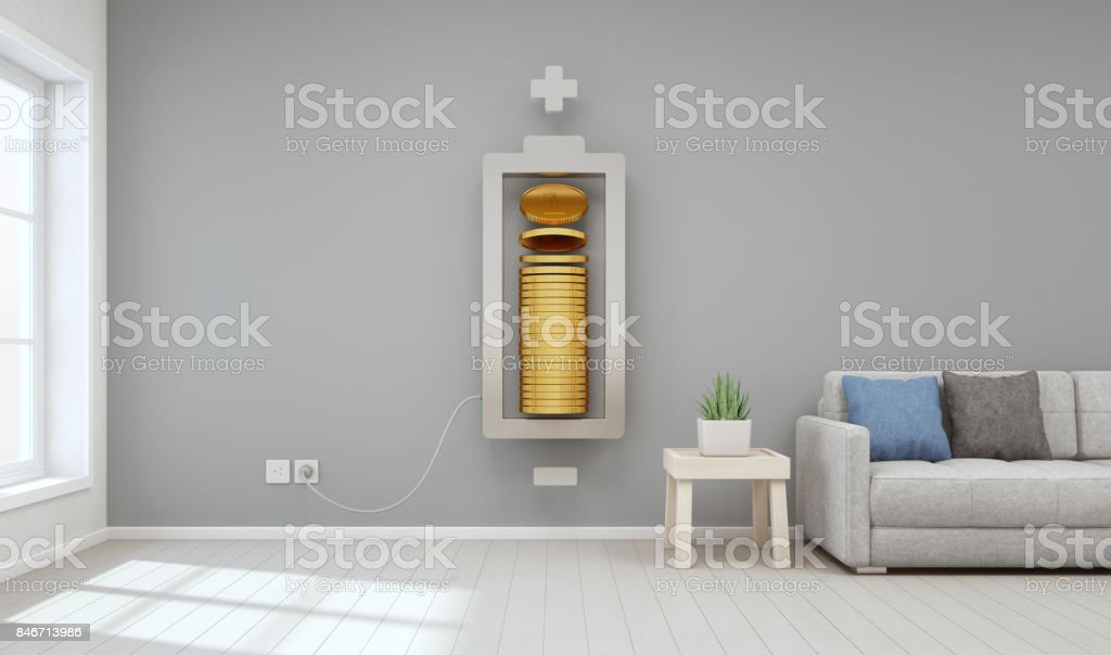 Living room of modern house with gold coins in property investment and business growth concept, Saving money to buy new home for family stock photo